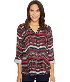 Tribal Long Sleeve Blouse w/ Roll Up Sleeve and Be