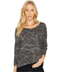 Three Dots Squiggle Burnout High-Low Long Sleeve