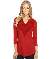 Mod-o-doc Classic Jersey Embroidered Split-Neck Te