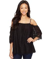 Vince Camuto Elbow Sleeve Cold-Shoulder Geo Lace B
