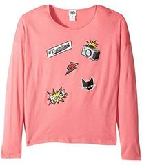 Karl Lagerfeld Long Sleeve Jersey Tee with Embosse