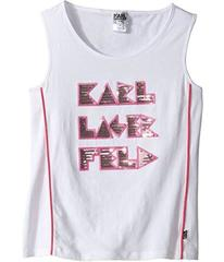 Karl Lagerfeld Tank Top w/ Contrast Piping & Sequi