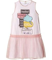 Fendi Text Message Graphic Dress w/ Tulle Overlay