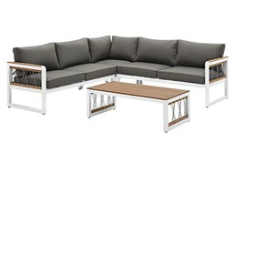 4pc Wood/Aluminum Sectional with Cord Accents - Wh