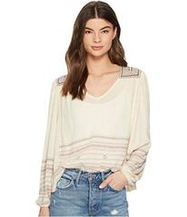 Lucky Brand Market Embroidered Peasant Top