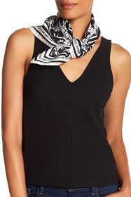 Roberto Cavalli Abstract Patterned Silk Scarf