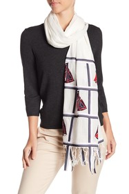 Tory Burch Sailboat Embroidered Oblong Scarf
