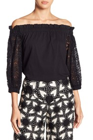 Anna Sui Off-the-Shoulder Morning Glory Lace Blous