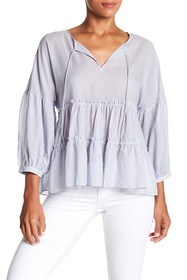 Lucky Brand Tie Neck Tiered Top