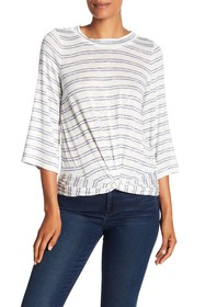 Max Studio Knotted Front Accent Stripe Top