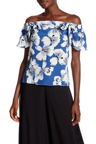 Nicole Miller Hibiscus Canopy Off-the-Shoulder Sil