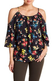 Karen Kane Cold Shoulder Floral Top