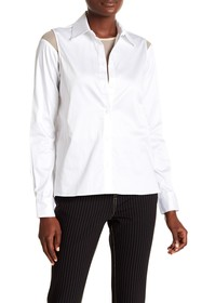 Opening Ceremony Convertible Mesh Button Down Blou