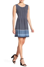 Max Studio Pleated Patterned Dress