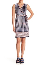 Max Studio Patterned Sleeveless Faux Wrap Dress