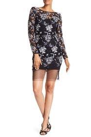 Diane von Furstenberg Long Sleeve Fitted Lace Mini