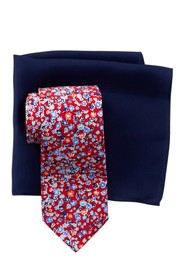 Tommy Hilfiger Preppy Botanical Silk Tie & Pocket