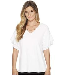 Calvin Klein Double Ruffle Short Sleeve Top w/ Cha