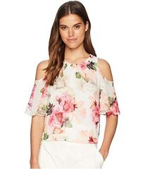 Calvin Klein Printed Cold Shoulder Blouse