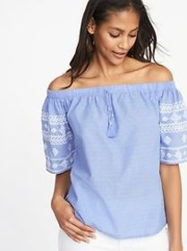 Off-the-Shoulder Embroidered Top for Women