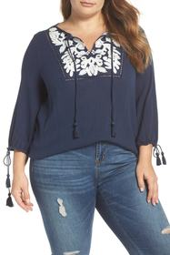 Lucky Brand Embroidered Tassel Top (Plus Size)