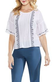 Vince Camuto Embroidered Crinkle Cotton Top (Regul
