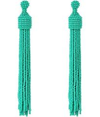 Kenneth Jay Lane Turquoise Seed Bead Tassel Post E