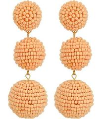 Kenneth Jay Lane 2 Peach Pink Seed Bead Wrapped Ba