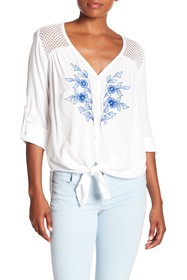 Karen Kane Embroidered Button Down Shirt