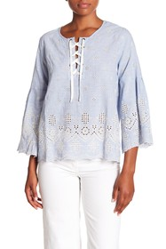 Karen Kane Embroidered Lace-Up Top