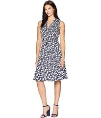 Anne Klein Notch Collar Wrap Dress with Full Skirt