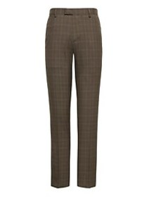 Slim Plaid Smart-Weight Performance Wool Blend Sui