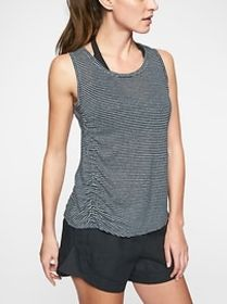 Linen Striped Ruched Tank