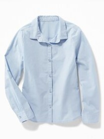 Stretch-Poplin Uniform Shirt for Girls