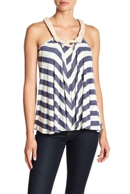 Papillon Knotted Rope Neck Striped Tank Top