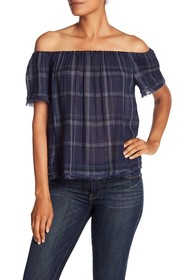 Lucky Brand Off Shoulder Plaid Top