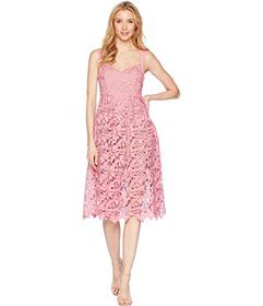 Donna Morgan Lace Midi Dress with Sweetheart Neckl
