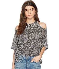 Lucky Brand Cold Shoulder Open Front Top