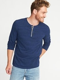 Soft-Washed Slub-Knit Henley for Men
