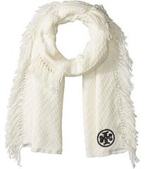 Tory Burch Textured Jacquard Oblong Scarf with Fri