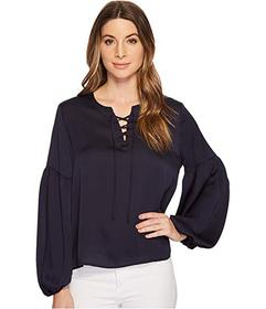 Vince Camuto Lace-Up Bubble Sleeve Hammer Satin Bl