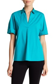 Lafayette 148 New York Damon Short Sleeve Blouse (