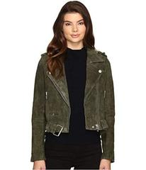 Blank NYC Real Suede Moto Jacket in Olive Juice