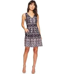 Vince Camuto Printed V-Neck Fit and Flare