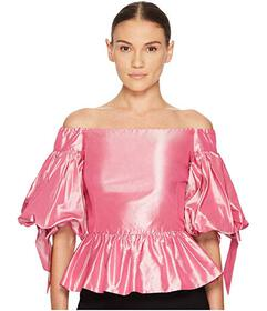 Marchesa Solid Off the Shoulder Peplum Top in Taff