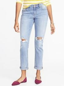 Distressed Boyfriend Straight Jeans for Women