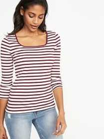 Slim-Fit Square-Neck Tee for Women