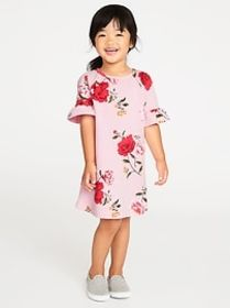 French Terry Ruffle-Sleeve Shift Dress for Toddler