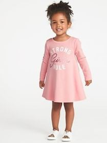 Graphic French-Terry Circle Dress for Toddler Girl