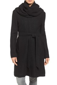 Cole Haan Belted Scarf Front Coat